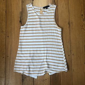 Sanctuary Gold and White Striped Linen Blend Tank